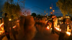 Time Lapse of People walking across the Hoi An bridge in Vietnam Stock Footage