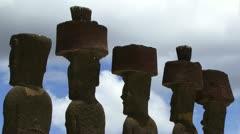 Moai statues Easter Island Stock Footage