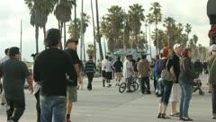 Venice Beach Boardwalk People Stock Footage