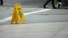 Caution Wet Floor Stock Footage