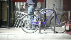 Bike at Bike Rack Stock Footage