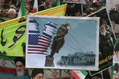 iran 4. Iranian people celebrate  30th Anniversary  of Islamic revolution. - stock footage