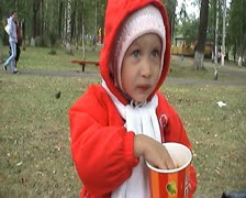 Child with popcorn - stock footage