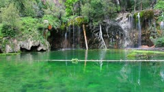 Spectacular and beautiful Hanging Lake near  Glenwood Springs, Colorado Stock Footage