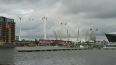 The Emirates Air Line cable car Royal Dock side London July 7th 2012. Stock Footage