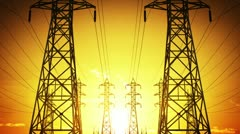 Construction of high voltage towers, Seamless Loop Stock Footage