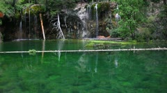 Slow motion of beuatiful waterfalls at Hanging Lake, Colorado Stock Footage