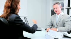 Businesswoman Meeting Bank Official Stock Footage