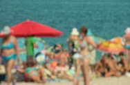 Stock Video Footage of Crowded Beach Scene