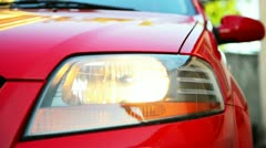 Headlights of car Stock Footage