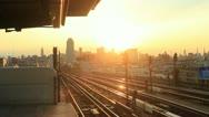 New York City Skyline 7 train go by. Stock Footage