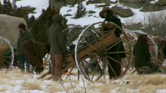 Pioneer in 1800s camp Stock Footage
