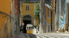 City tram, Lisbon, Portugal Stock Footage