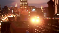 New York City subway car goes around corner and Sparks Rail - stock footage