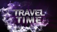 TRAVEL TIME Text in Particle (Double Version) Blue - HD1080 Stock Footage