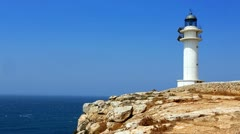 Barbaria cape Formentera lighthouse  with mediterranean sea Stock Footage