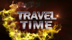 TRAVEL TIME Text in Particle (Double Version) Red - HD1080 Stock Footage