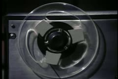 Close-up of tape reel turning - stock footage