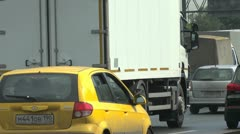 Real traffic in Moscow; Moscow loop highway 004 Stock Footage