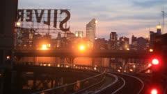 New York City subway car goes around corner at night - stock footage