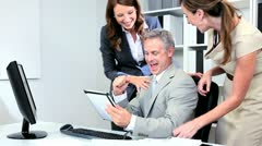 Investment Consultant Receiving Colleagues Congratulations - stock footage
