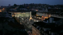 Rossio Square at dusk, Lisbon Stock Footage
