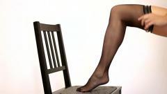 Woman legs in stockings - stock footage