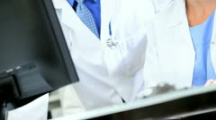 Close up Doctors Checking Results Clinical Trials - stock footage