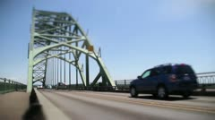 Yaquina bay bridge cars depth of feild - stock footage
