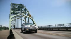 Yaquina bay bridge cars original - stock footage