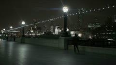 People on River Thames at night anamorphic flares Stock Footage