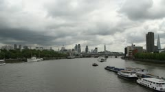 London skyline with River Thames July 7th 2012. Stock Footage