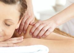 Bright woman having a massage Stock Photos