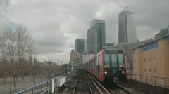 London from train tube dlr Canary Wharf timelapse 3 Stock Footage