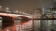 London Bridge on River Thames and City of london Stock Footage