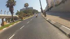 Motorbike motorcycle Tel Aviv city rider riding biker driver drive driving Stock Footage