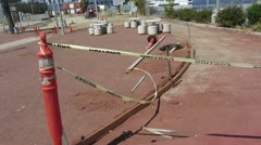 Caution Tape at Construction Site Stock Footage