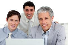Self-assured business partners working at a computer Stock Photos