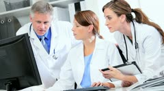 Medical Colleagues Meeting on Patient Information Stock Footage