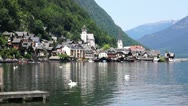 Swans on the Lake on the background of the Hallstatt town, Austria Stock Footage