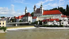 Panoramic view of the dam and the Steyr old town. Austria Stock Footage