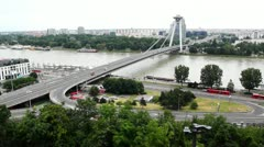 Panoramic view of the bridge through Danube of the Bratislava city Stock Footage