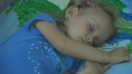 Sleeping Child, Tired Little Girl Taking a Nap, Bedtime, Dreaming Children Stock Footage