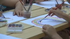 Child Painting a Rainbow, Child Painting a Picture - stock footage