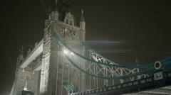Tower Bridge Anamorphic flares Night Foggy Stock Footage