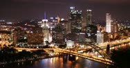 Stock Video Footage of 4K Pittsburgh Skyline Time Lapse Night 2513