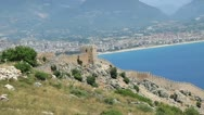 The old fort in the Turkish city of Alanya Stock Footage