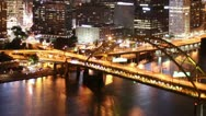 Stock Video Footage of Pittsburgh Skyline Time Lapse Night 2517