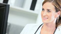 Close up Doctor Updating Patient Information Stock Footage