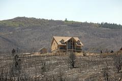 Luxury home survives devastating wild fire 0974 - stock photo